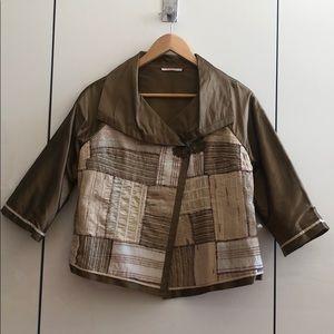 Bronze Silk Patterned Jacket / Blazer